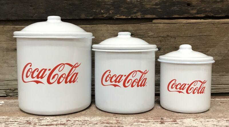 "Coca-Cola (3) Piece ""Coca-Cola"" Cursive Script Enamel Kitchen Canister Set"