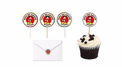 30 Mickey Mouse Birthday Stickers Lollipop Label Party Favors 1.5 in - Mickey Mouse Birthday Party