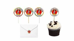 30 Mickey Mouse Birthday Stickers Lollipop Label Party Favors 1.5 in Personalize