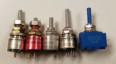 5 Assorted Potentiometers Linear Taper Nos Clarostat Reon Bourns
