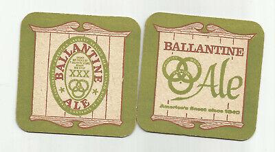 "Lot Of 5 Ballantine Ale Coasters ""Finest"" Newark, NJ 3 1/2"" #200-Green&Brown"