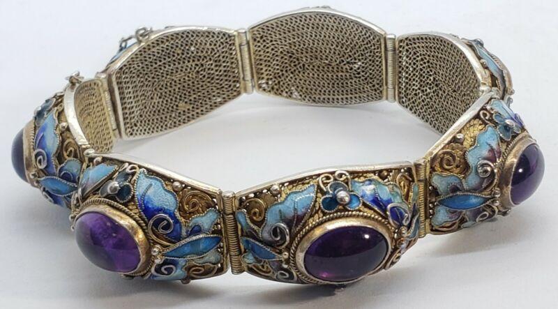 Antique Chinese SILVER Gilt Cloisonne Purple Jade Hinged Panel Link Bracelet