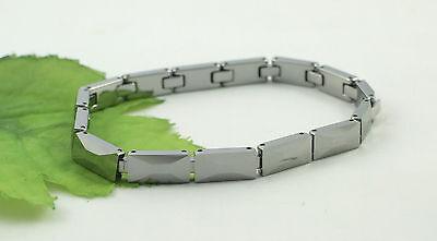 Gatik Gents BR1035 Designer Faceted Rectangular Link Tungsten 8'' Bracelet