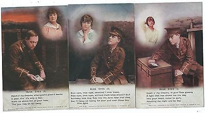 """BAMFORTH - """"BLUE EYES"""" Set of 3 Song Cards Postcards 4873.1/3   MILITARY"""