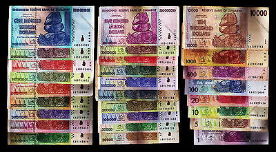 1 Dollar to 100 Trillion Zimbabwe Dollars Full Complete Set of 27 Banknotes 2008