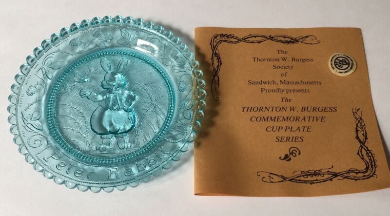 Peter Rabbit Thornton Burgess VTG Cottage Core Pairpoint Glass Cup Plate Coaster