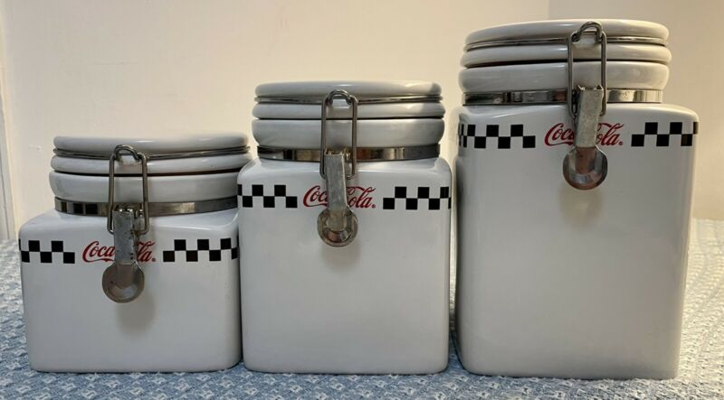 Coca-Cola Kitchen Canisters, Flour, Sugar and Tea White/Checkered Stripe