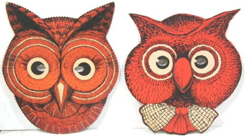 Two Different Halloween Owl Masks with Original Elastic Bands c1940-50s
