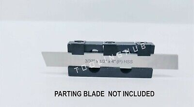 Parting Cut Off Tool Holder Adjustable Height 10mm Shank With Hss Parting Blade