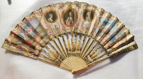 ANTIQUE CHINESE FILIGREE  STICKS AND HAND PAINTED  HAND  FAN XVIII
