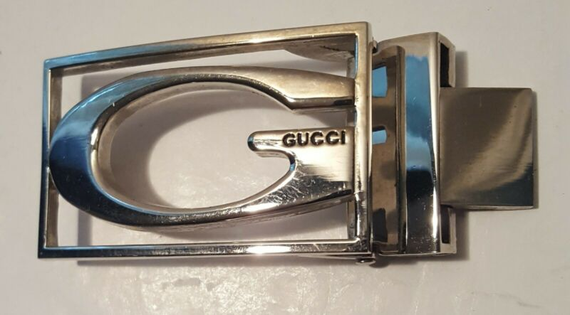 Gucci belt buckle Silver Plate PreOwn NICE
