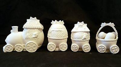 Ceramichrome 1247-1250 - Easter Bunny Train Set - Ready to Paint Ceramic Bisque