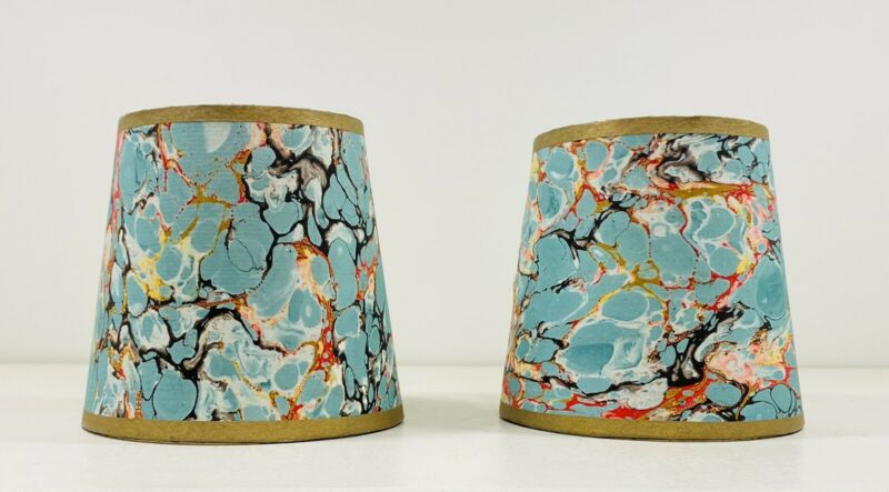 Vintage Pair Italian Hand Marbled Clip Lamp Shades Turquoise Multi Gold, 4 Inch
