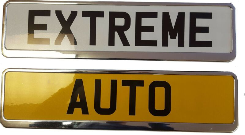 Universal chrome look Number Plate Surrounds Holders car, auto, van, standard