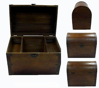 LARGE OPEN WOOD TREASURE CHEST w shelves pirate storage box VINTAGE LOOKING - Pirate Chest