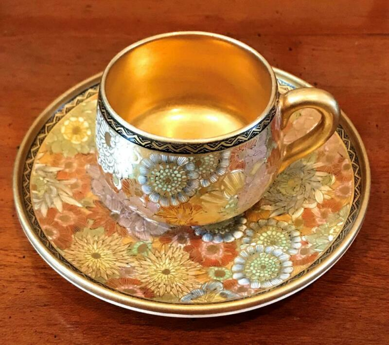 Antique Satsuma Black & Gold Mark Thousand Flowers Gilt Cabinet Cup & Saucer