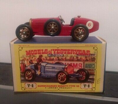 Vtg Matchbox MOY Y-6 Supercharged Bugatti Type 35 in Box Red