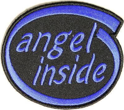 (BRAND NEW ANGEL INSIDE (BLUE) BIKER IRON ON PATCH)