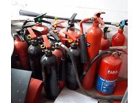 Batch of 25 fire extinguishers (mixed types, mostly CO2)