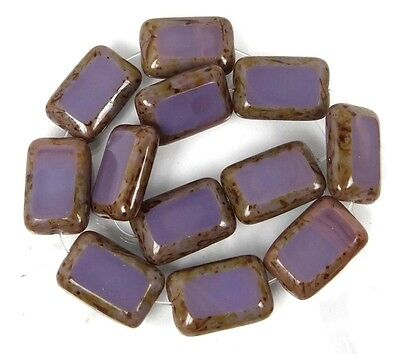 12x8mm Czech Glass Rectangle Beads Opaque Amethyst - Picasso (12)
