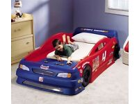 Kids race car bed stock car style childs bedroom