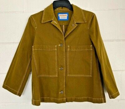 Bla Konst Acne Studios Jacket Green Buttons Pockets Collar Long Sleeve M COAT