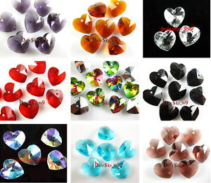 12-Charms-Glass-Crystal-Heart-Faceted-Loose-Pendant-Spacer-Finding-Beads-14mm