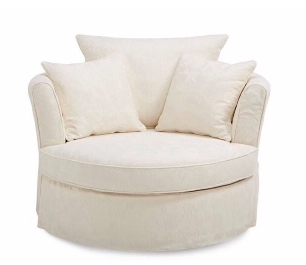 Dfs Red Leather Swivel Chair: Large Cream Swivel Chair With Matching Half Moon Footstool