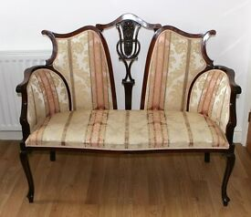 19th Century Mahogany Salon Settee With Scrolled Back Excellent Conditoin