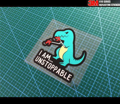 I Am Unstoppable T-Rex Dinosaur JDM Car Reflective Decal Sticker #02 Blue, used for sale  Shipping to United States
