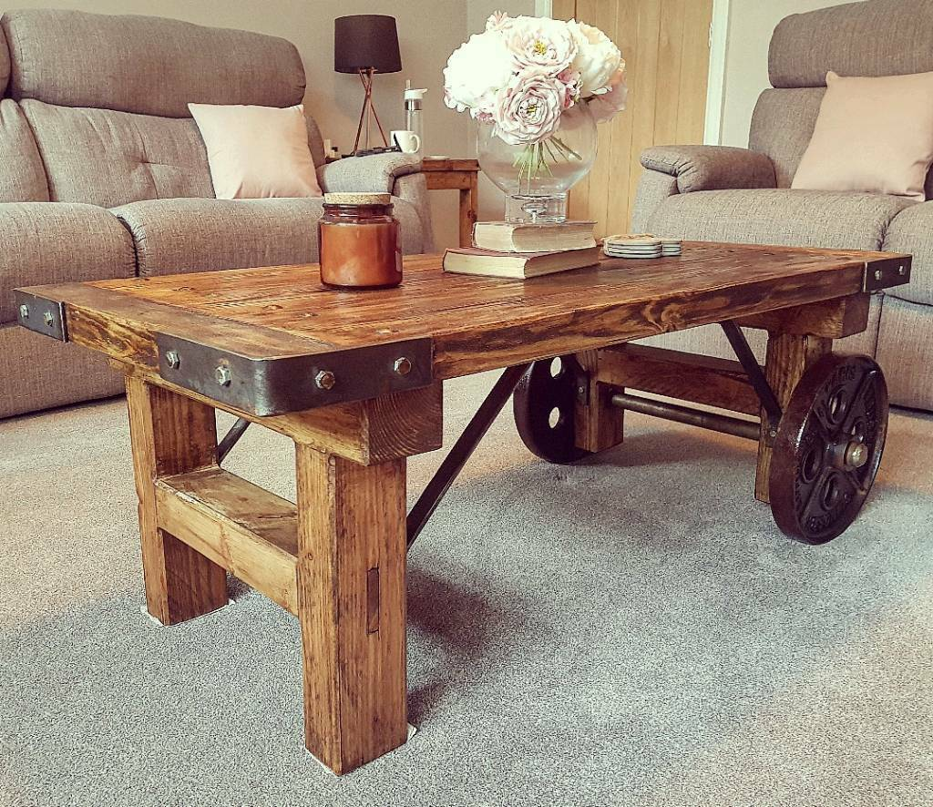 Industrial Coffee Table with Cast Iron Wheels