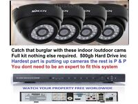 CCTV SYSTEM H264 4CH DVR + 4 KK MOON DOME CAMERAS ALL YOU NEED TO VIEW ON INTERNET & ON YOUR PHONE