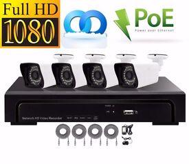 CCTV Kit, x4 1080p PoE Full HD Security Cameras, x1 NVR (Recorder), DIY, Easy Install Plug & Play