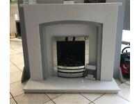White marble fireplace sparkly grey inlay and lights