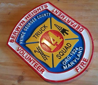 Fire Department Berwyn Heights Prince Georges 3D routed wood patch sign Custom
