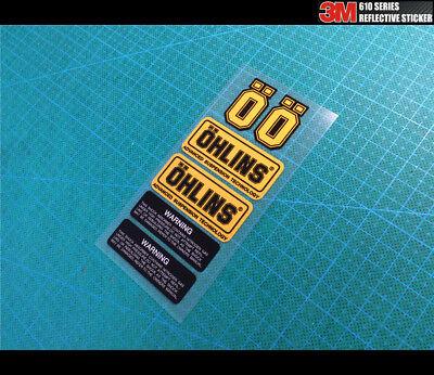6 Pics OHLINS ADVANCED SUSPENSION Reflective Decal Sticker Set (Gold Set Pics)