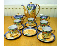 14pc Vintage Hand Painted Klimax Japanese Lustreware China Coffee Set