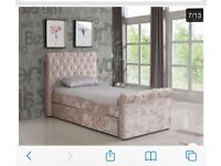 Gold Crushed Velvet Fabric Thrundle single Bed with Mattress £199 only OVNO