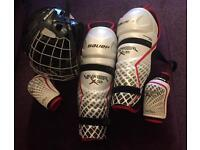 Bauer Ice/Roller Hockey Helmet, Elbow Guards and Shin Guards
