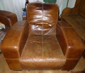 Tan leather Chesterfield style armchair chair