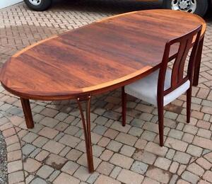 REFINISHED Designer Danish MCM Rosewood Extension Dining Table and 4 Chairs REUPHOLSTERED by Sven Ellekaer