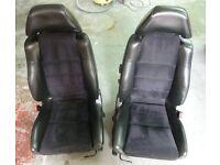 A pair of Toyota MR2 MK2 half leather, half alcantera seats