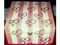 LOVELY PINK AND CREAM PAINTED WOODEN JEWELLERY BOX WITH MIRROR