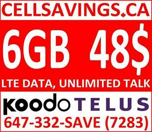6 GB LTE DATA + Unlimited NATIONWIDE TALK + TEXT FOR 48$/Mth - Cellsavings.ca Plans by John