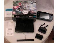 Wii U Premium 32GB, original box/paperwork, black, 2 games built in - Mario Kart 8 and Mario Maker