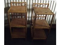 Pair of Wicker Shelves Units Plant Stands