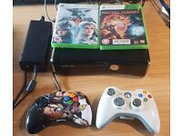 Xbox 360 Slim 250gb + 2 Controllers + 2 Games + Xbox 360 media remote (Netflix, Sky, iplayer)