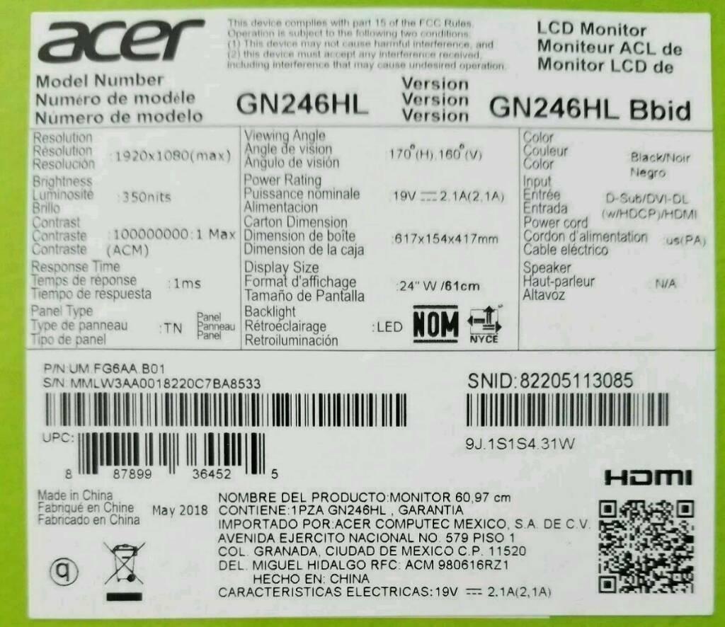 Acer GN246HL Full HD 24