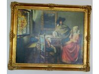 Antique oil reproduction of Vermeer The Wine Glass Antique framed painting
