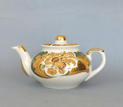 Antique Soviet Russian Porcelain Tea pot by Verbilki Factory